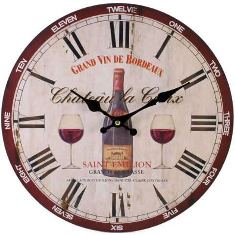 Wine Saint-Emilion 32423 - Large Rustic Retro Kitchen Wall Clock 34cm